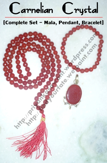 Carnelian Crystal Complete Set [Mala (108 Beads) + Bracelet + Pendant] Healing Properties:-Emotional Warmth, Sociability, Creativity, Individuality, Memory, Appreciation Of Nature, Harmony, Courage, Happiness, Self-Esteem, Rebirth, Reincarnation, Past Life Recall, Attract Luck And Success, Fame. For Further Details Contact Us- (+91) 9833824682