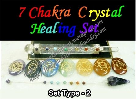 7 Chakra Crystals Wand, Pendulum, Chakra Stone Set Type - 2,